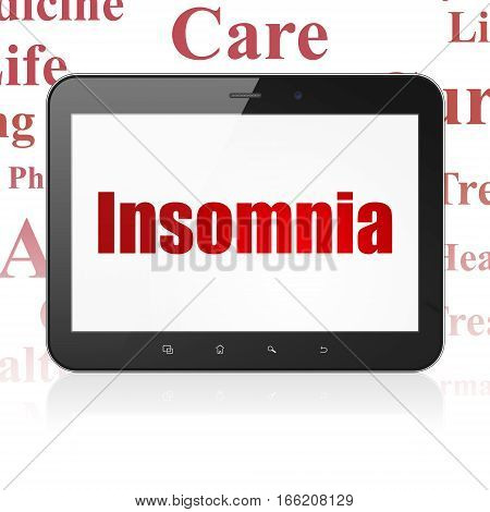 Medicine concept: Tablet Computer with  red text Insomnia on display,  Tag Cloud background, 3D rendering