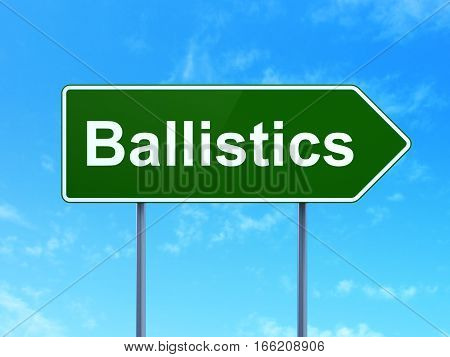 Science concept: Ballistics on green road highway sign, clear blue sky background, 3D rendering