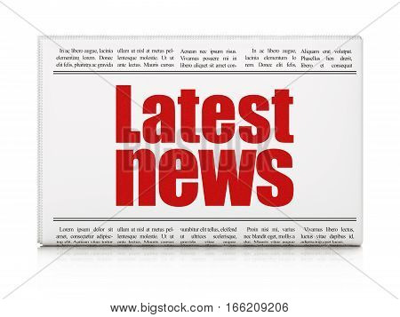 News concept: newspaper headline Latest News on White background, 3D rendering
