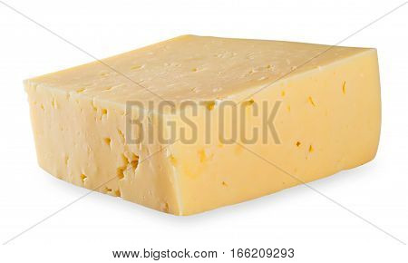 Rectangular piece of cheese isolated on white background