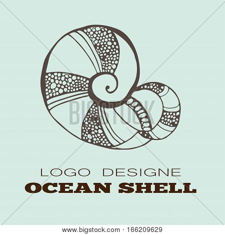 Ocean shell logo ocean shell element. Shell vector design logo
