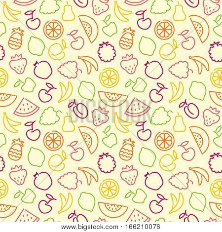 Seamless background with stylized outlines of fruits and berries