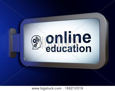 Studying concept: Online Education and Head With Gears on advertising billboard background, 3D rendering