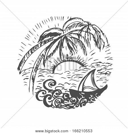 time to travel.Design element for travel company made in vector. Adventure banner. Travel hand drawn sketch for design. Adventure Travel. doodle with ship. Vector decoration hand drawing sketch. Trip around the world. Holiday doodle. Vector illustration.