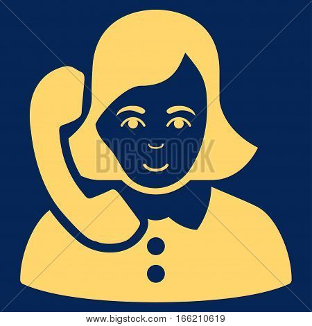 Receptionist vector icon. Flat yellow symbol. Pictogram is isolated on a blue background. Designed for web and software interfaces.