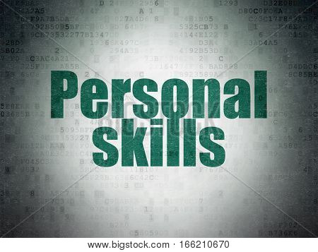 Studying concept: Painted green word Personal Skills on Digital Data Paper background