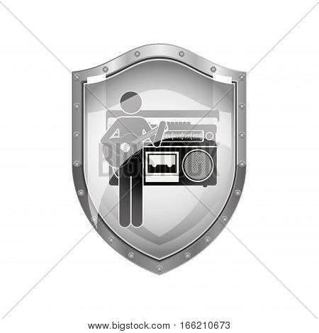 metallic shield of guitar player with casset stereo recorder vector illustration