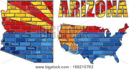 Arizona flag on a brick wall - 3D Illustration