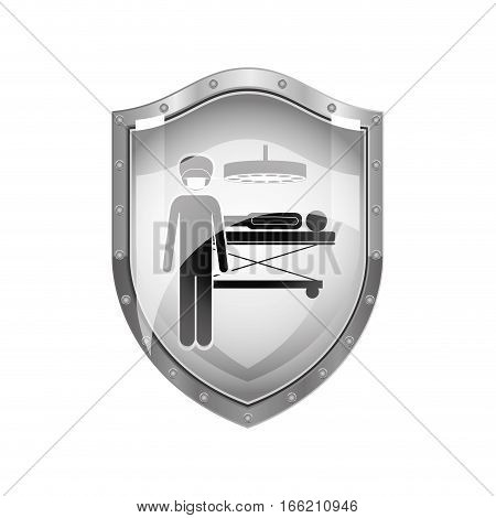 metallic shield of surgeon in quirophan with pacient vector illustration