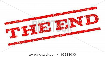 The End watermark stamp. Text tag between parallel lines with grunge design style. Rubber seal stamp with dust texture. Vector red color ink imprint on a white background.