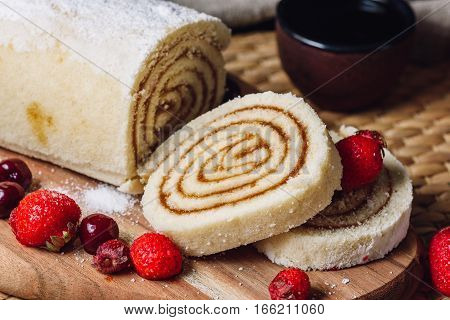 Apricot Paste Filled Rolls for Dessert with Berries.