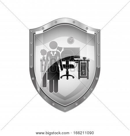 metallic shield of woman administrator in office vector illustration