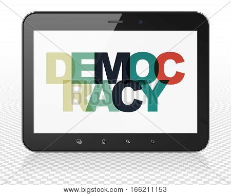 Political concept: Tablet Pc Computer with Painted multicolor text Democracy on display, 3D rendering