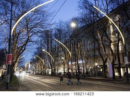 The night view of decorated Ringstrabe street in Vienna (Austria).