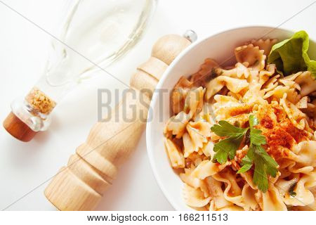 italian homemade noodles farfalle stuffed with vegetables