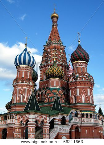Towers of Cathedral of Basil the blessed in Moscow Russia May 1 2011