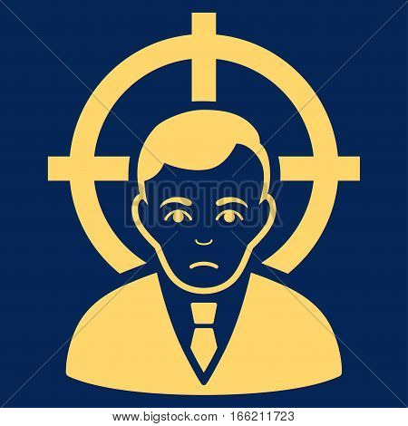 Victim Businessman vector icon. Flat yellow symbol. Pictogram is isolated on a blue background. Designed for web and software interfaces.