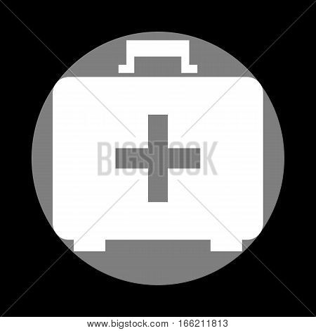 Medical First aid box sign. White icon in gray circle at black background. Circumscribed circle. Circumcircle.
