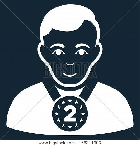 2nd Prizer Sportsman vector icon. Flat white symbol. Pictogram is isolated on a dark blue background. Designed for web and software interfaces.