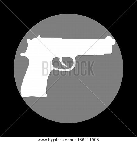 Gun sign illustration. White icon in gray circle at black background. Circumscribed circle. Circumcircle.