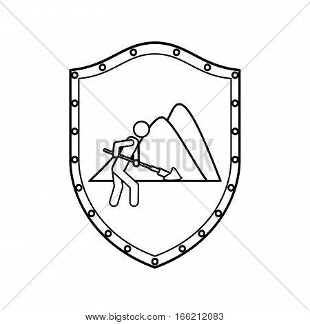 contour shield of farmer with mattock in the mountain vector illustration