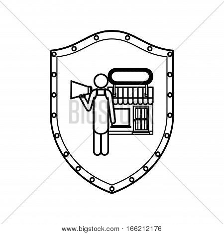 contour shield of shopkeeper with megaphone in store vector illustration
