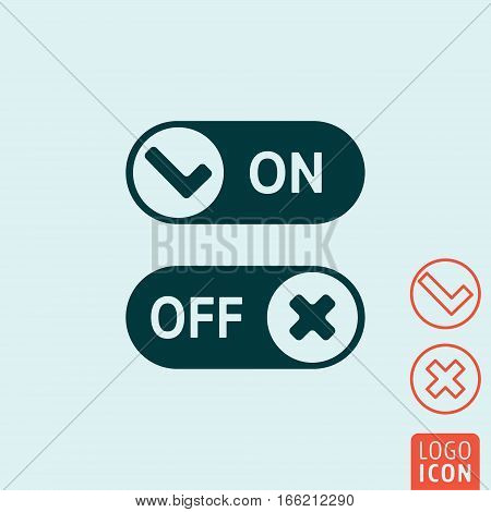 On - Off sliders or switch buttons. Vector illustration