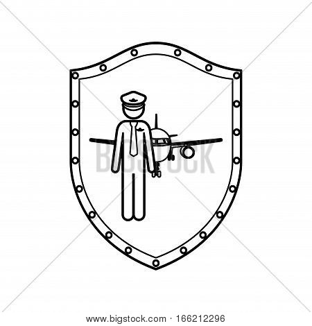 contour shield with pilot with aeroplane vector illustration