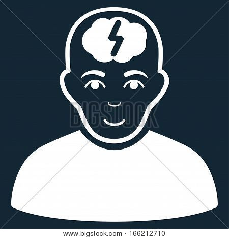 Clever Boy vector icon. Flat white symbol. Pictogram is isolated on a dark blue background. Designed for web and software interfaces.