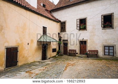 Old European medieval houses in the streets of Cesky Krumlov, Czech republic