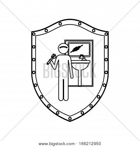 contour shield with plumber with spanner in bathroom vector illustration