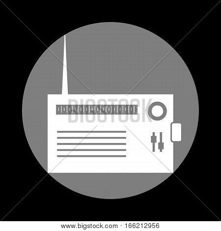 Radio sign illustration. White icon in gray circle at black background. Circumscribed circle. Circumcircle.