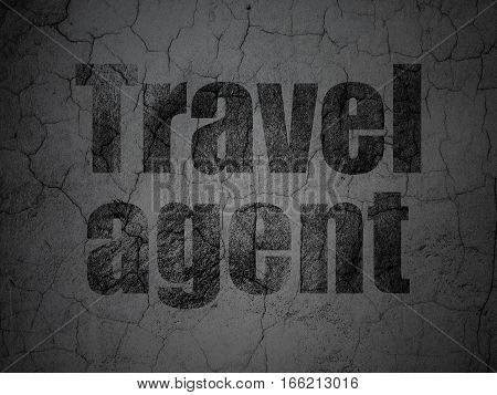Travel concept: Black Travel Agent on grunge textured concrete wall background
