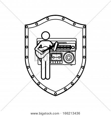 contour shield of guitar player with casset stereo recorder vector illustration