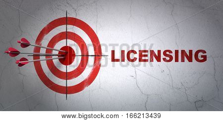 Success law concept: arrows hitting the center of target, Red Licensing on wall background, 3D rendering