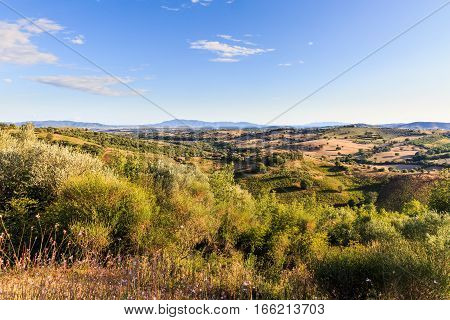 View Of A Tuscan Fields And Hills In Maremma Region