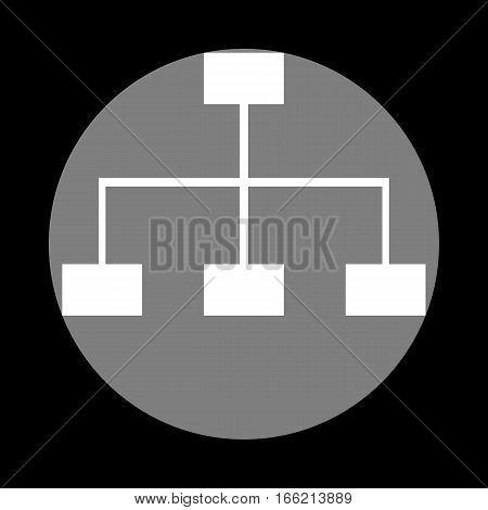 Site map sign. White icon in gray circle at black background. Circumscribed circle. Circumcircle.