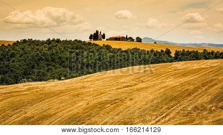 View Of Cappella Di Vitaleta In The Tuscan Region San Quirico D Orcia In Italy