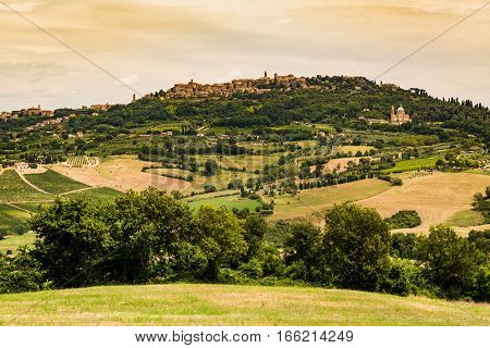Montepulciano In The Region Of Siena In Italy