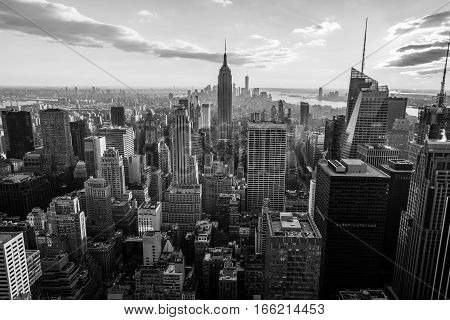 Black and White - New York City Manhattan skyline at sunset, view from Top of the Rock, Rockfeller Center, United States