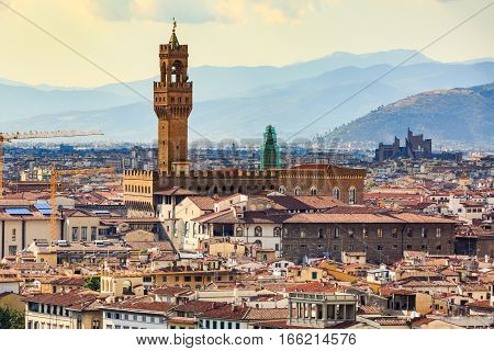 View Of Florence Cityscape Overlook To Palazzo Vecchio