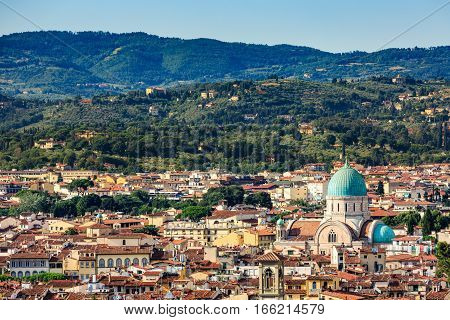 View Of Florence Cityscape Overlook And The Great Synagogue Of Florence
