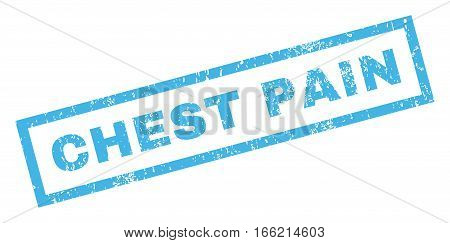 Chest Pain text rubber seal stamp watermark. Caption inside rectangular shape with grunge design and unclean texture. Inclined vector blue ink emblem on a white background.