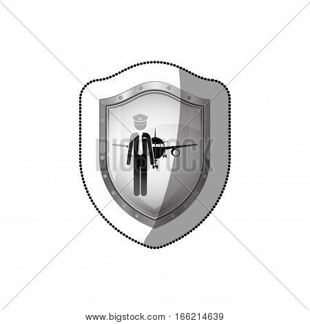 sticker shield pilot with aeroplane vector illustration