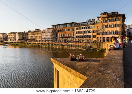 View Of The St Trinity Bridge In Florence