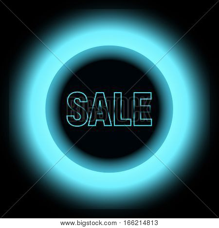Metal Sale with blue lights with black circle