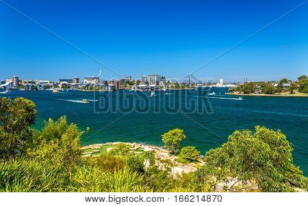 Sydney Harbour as seen from Barangaroo Reserve Park - Australia