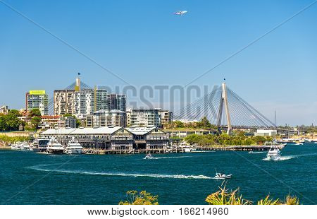 View of Pyrmont district and the Anzac Bridge in Sydney, Australia