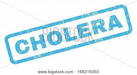 Cholera text rubber seal stamp watermark. Caption inside rectangular banner with grunge design and scratched texture. Inclined vector blue ink sticker on a white background.