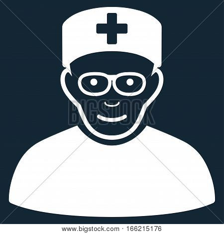 Medical Specialist vector icon. Flat white symbol. Pictogram is isolated on a dark blue background. Designed for web and software interfaces.